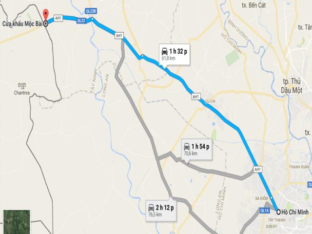 Từ TPHCM đi Mộc Bài bao nhiêu km?