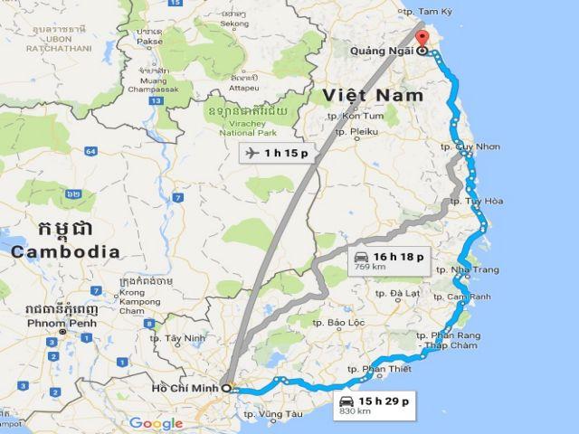 Từ tphcm đi quảng ngãi bao nhiêu km?