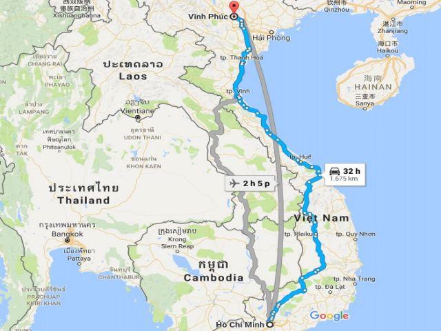 Từ tphcm đi vĩnh phúc bao nhiêu km?
