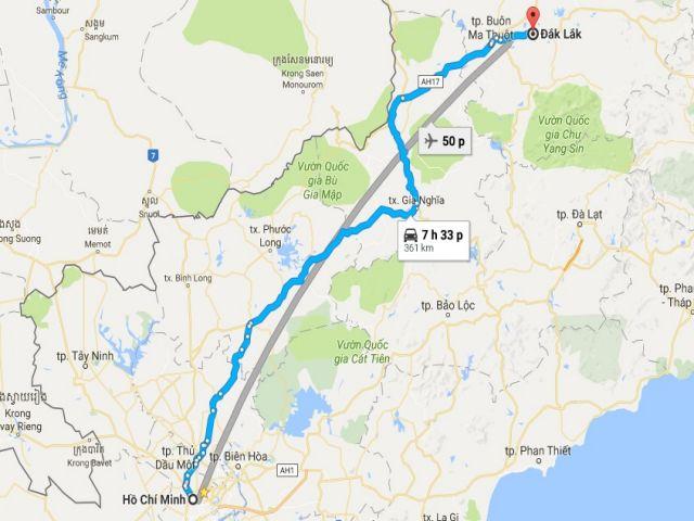 Từ tphcm đi đắk lắk bao nhiêu km?
