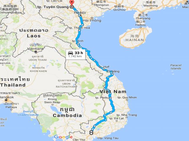 Từ TPHCM đi Tuyên Quang bao nhiêu km?