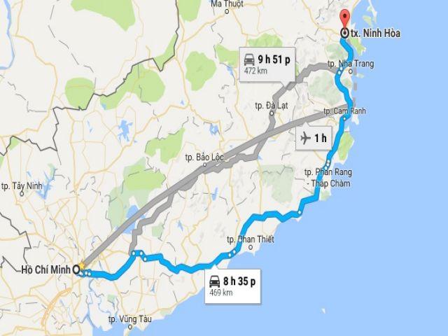 Từ tphcm đi thị xã ninh hòa bao nhiêu km?