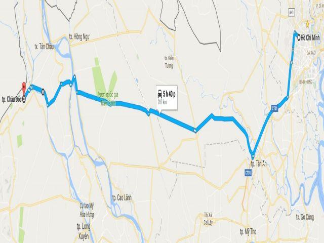 Từ tphcm đi thành phố châu đốc bao nhiêu km?