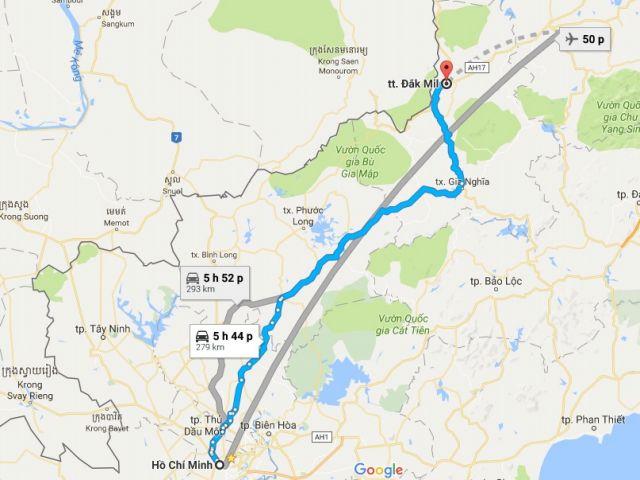 Từ tphcm đi thị trấn đắk mil bao nhiêu km?