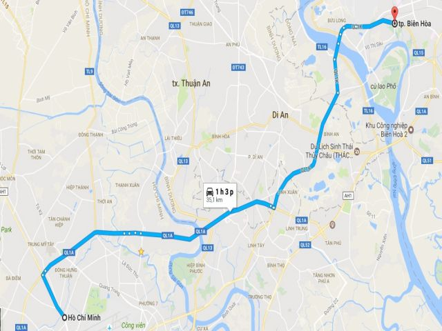 Từ tphcm đi biên hòa bao nhiêu km?