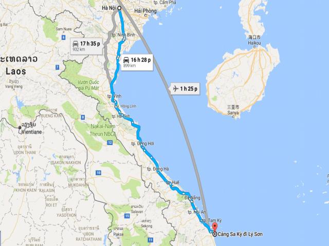 Từ Hà Nội đi Lý Sơn bao nhiêu km?