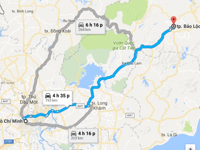 Từ TPHCM đi bảo lộc bao nhiêu km?