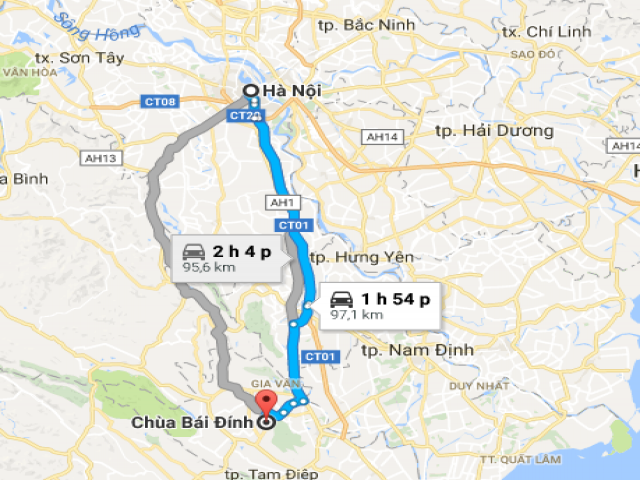 Từ Hà Nội đi Bái Đính bao nhiêu km?