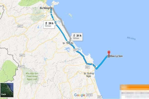 Từ Đà Nẵng đi Lý Sơn bao nhiêu km?