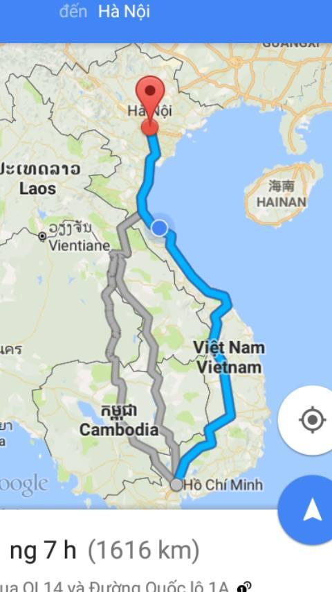 Từ TP.Hồ Chí Minh đi Hà Nội bao nhiêu km?