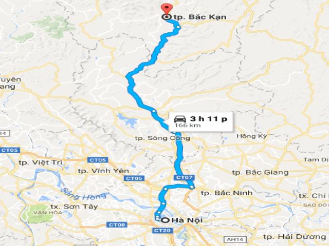 Từ Hà Nội đi Bắc Kạn bao nhiêu km?
