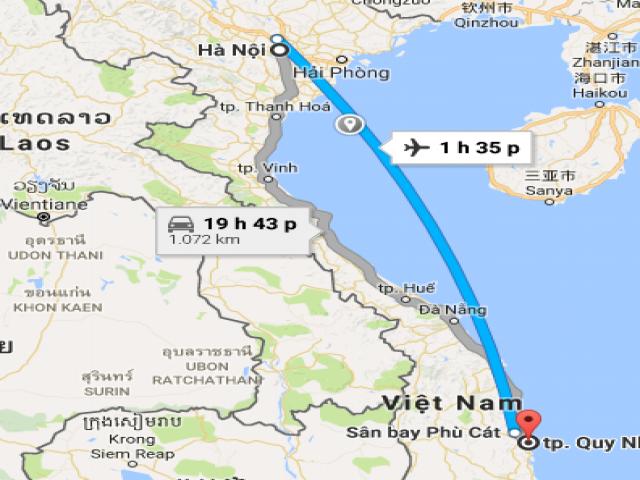Từ Hà Nội đi Bình Định bao nhiêu km?