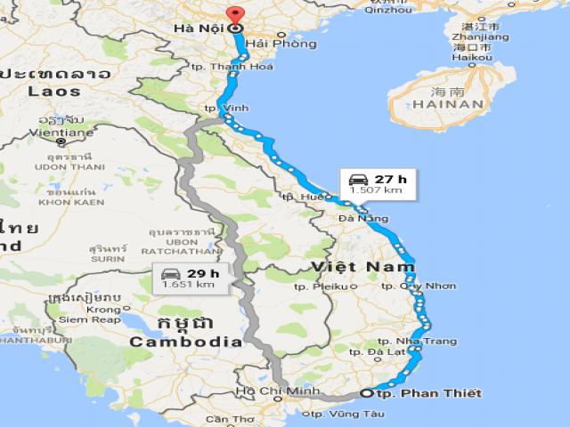 Từ Hà Nội đi Bình Thuận bao nhiêu km?
