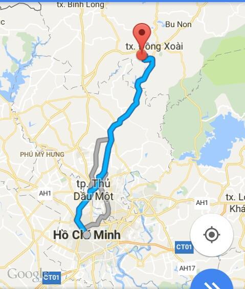 Từ TPHCM đi Đồng Xoài bao nhiêu km?