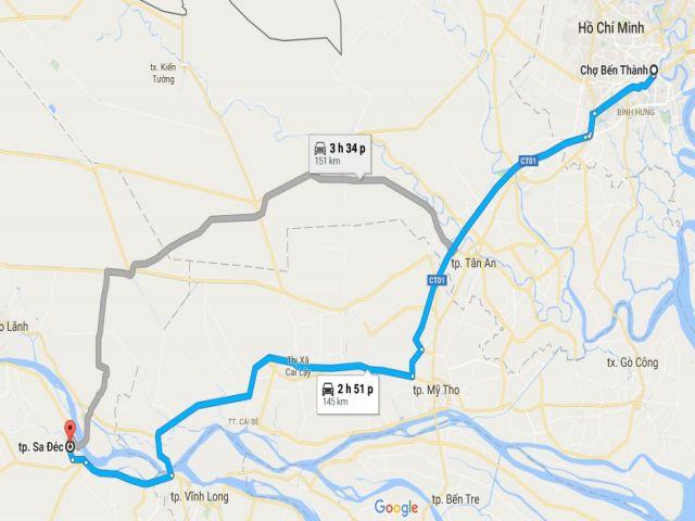 Từ tphcm đi sa đéc bao nhiêu km?