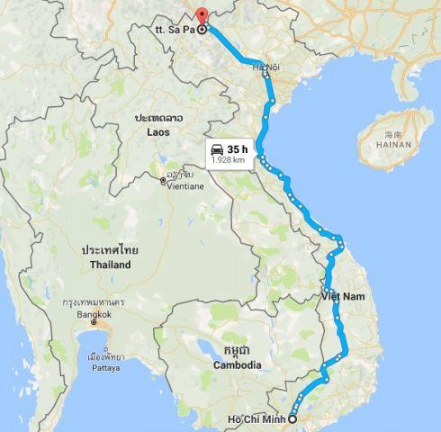Từ tphcm đi sapa bao nhiêu km?
