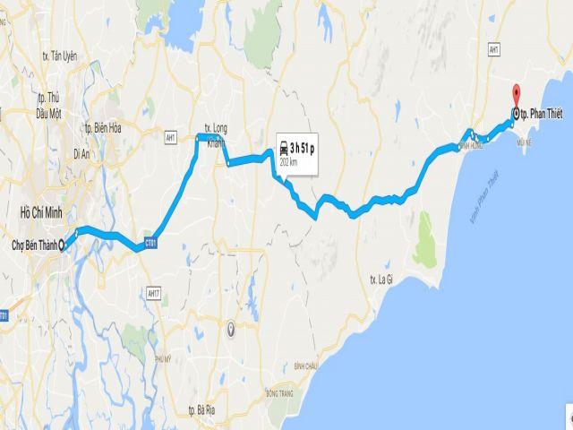 Từ tphcm đi phan thiết bao nhiêu km?