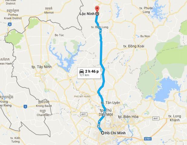Từ tphcm đi lộc ninh bao nhiêu km?