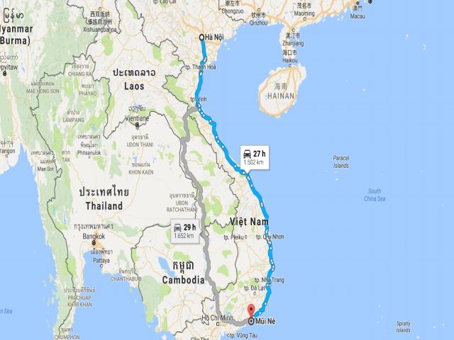 Từ Hà Nội đi Mũi Né bao nhiêu km?