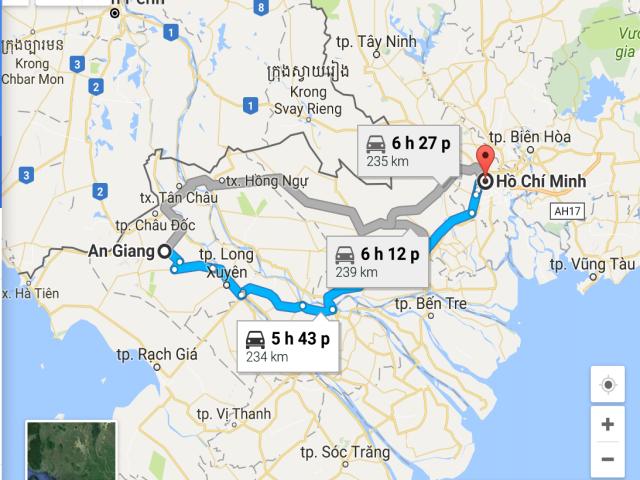 Từ TP Hồ Chí Minh đi An Giang bao nhiêu km?