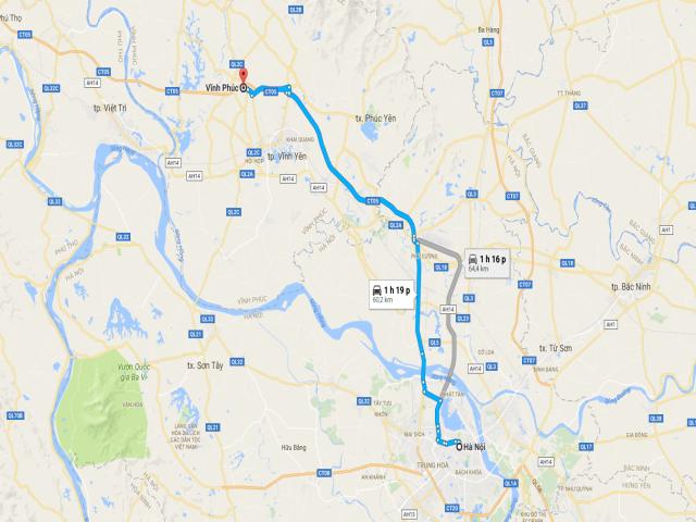 Từ Hà Nội đi Vĩnh Phúc bao nhiêu km?