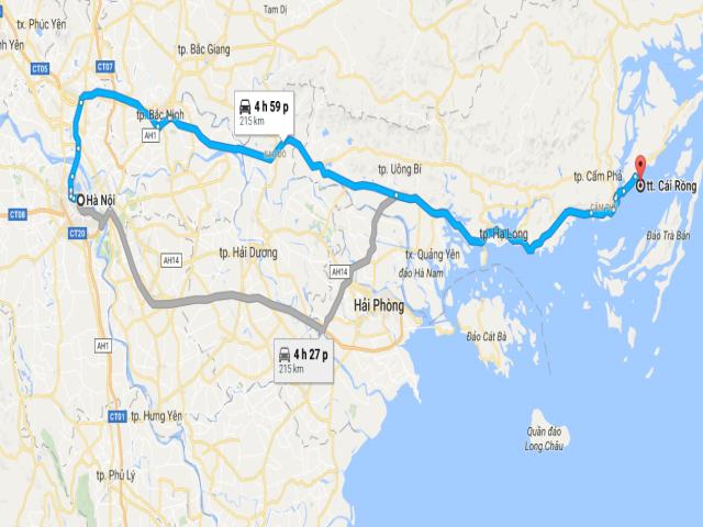 Từ Hà Nội đi Cô Tô bao nhiêu km?