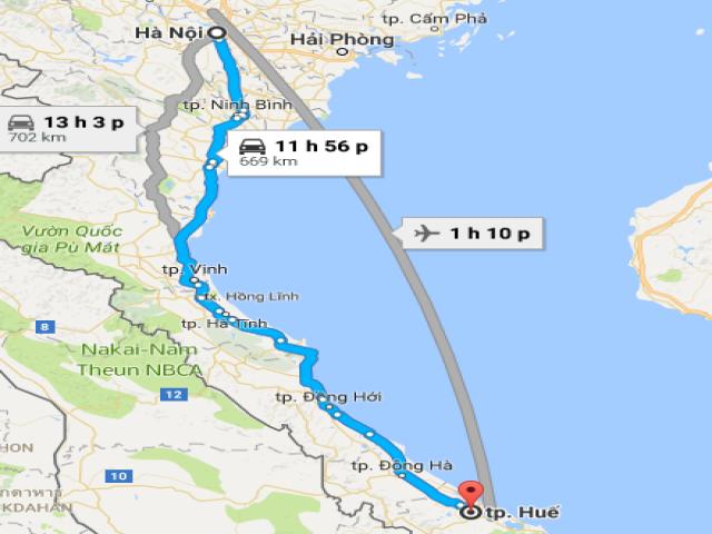 Từ  Hà Nội đi Huế bao nhiêu km?