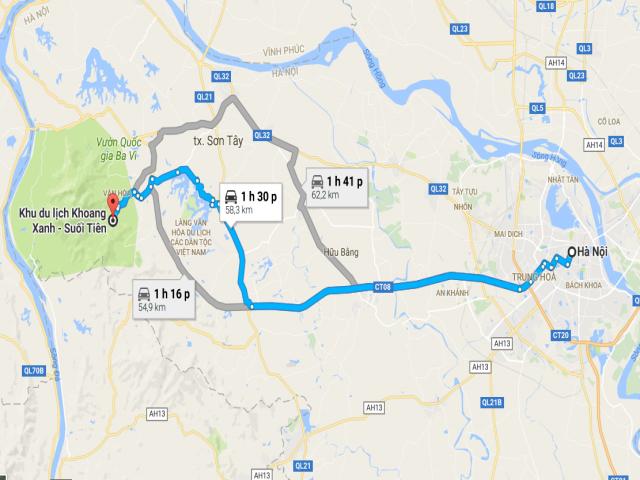 Từ Hà Nội đi Khoang Xanh bao nhiêu km?