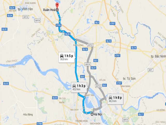 Từ Hà Nội đi Xuân Hòa bao nhiêu km?