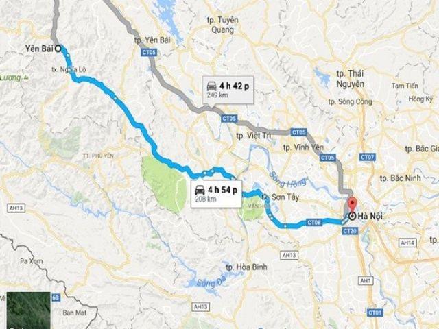 Từ Hà Nôi đi Yên Bái bao nhiêu km?