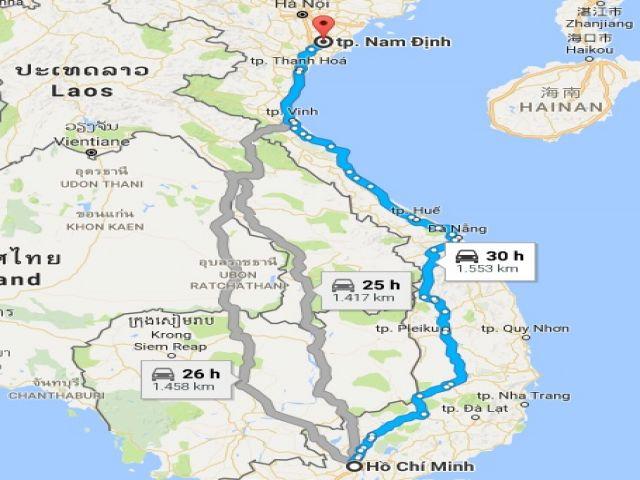 Từ tphcm đi nam định bao nhiêu km?