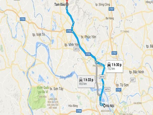 Từ Hà Nội đi Tam Đảo bao nhiêu km?