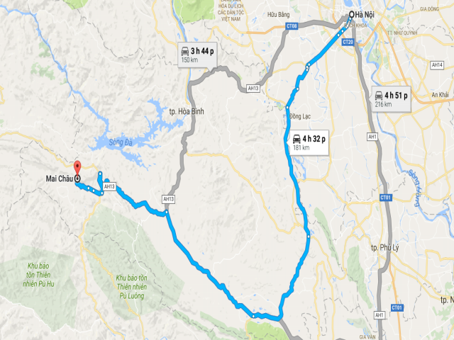 Từ Hà Nội đi Mai Châu bao nhiêu km?
