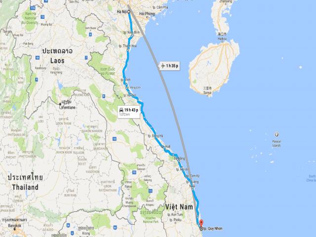 Từ Hà Nội đi Quy Nhơn bao nhiêu km?