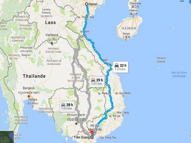 Từ Hà Nội đi Tiền Giang bao nhiêu km?
