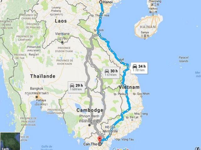 Từ Hà Nội đi Cần Thơ bao nhiêu km?