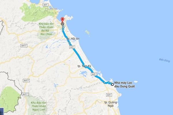 Từ Đà Nẵng đi Dung Quất bao nhiêu km?