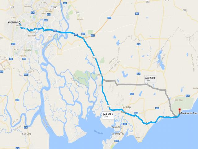 Từ TPHCM đi Hồ Tràm bao nhiêu km?