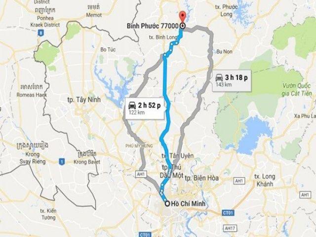 Từ TPHCM đi Bình Phước bao nhiêu km?