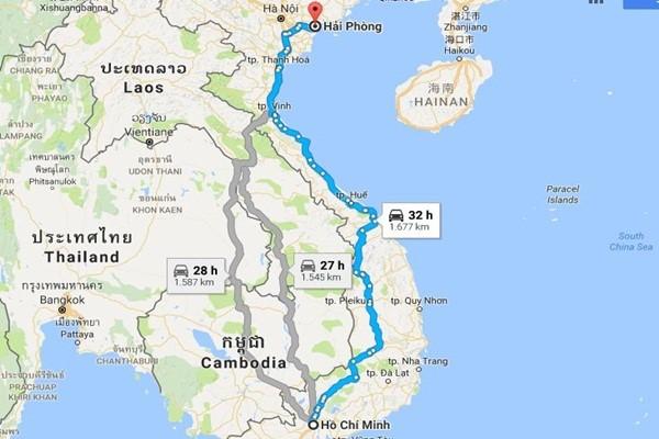 Từ TPHCM đi Hải Phòng bao nhiêu km?