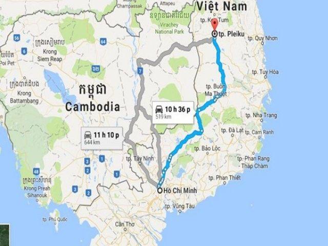 Từ TP HCM đi Pleiku bao nhiêu km?