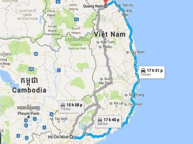 Từ TP HCM đi Quảng Nam bao nhiêu km?