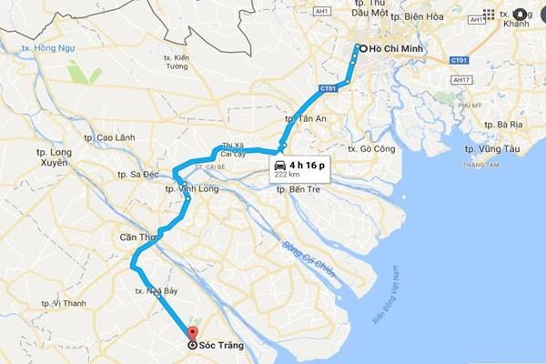 Từ TPHCM đi Sóc Trăng bao nhiêu km?