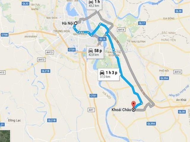 Từ Hà Nội đi Khoái Châu (Hưng Yên) bao nhiêu km?