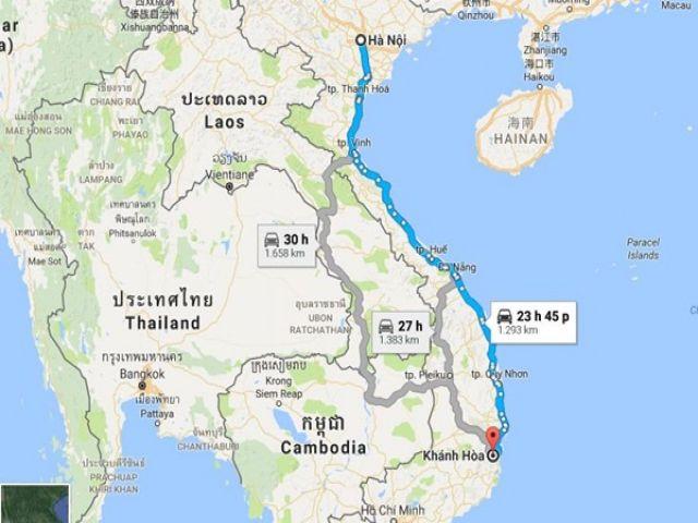 Từ Hà Nội đi Khánh Hòa bao nhiêu km?