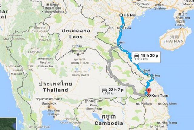 Từ Hà Nội đi Kon Tum bao nhiêu km?