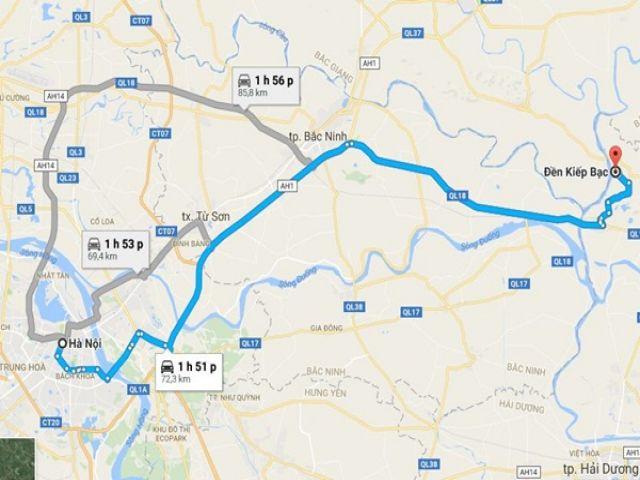 Từ Hà Nội đi Kiếp Bạc (Hải Dương) bao nhiêu km?
