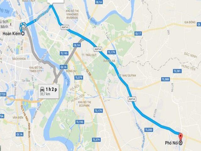 Từ Hà Nội đi Phố Nối (Hưng Yên) bao nhiêu km?