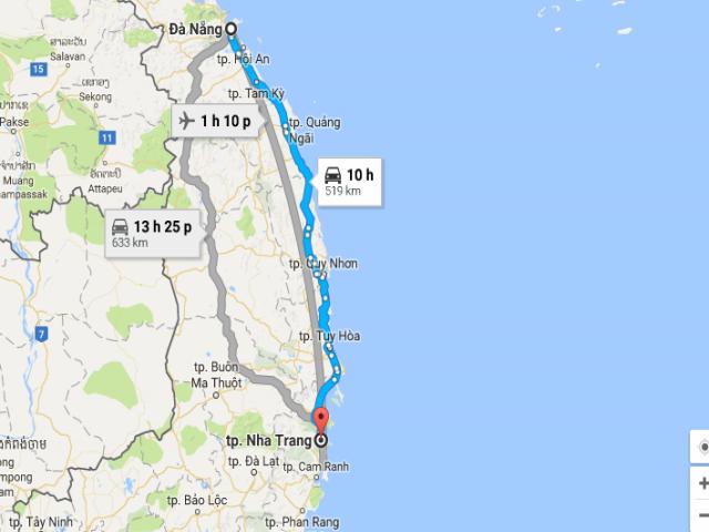 Từ thành phố Đà Nẵng tới Nha Trang bao nhiêu km?
