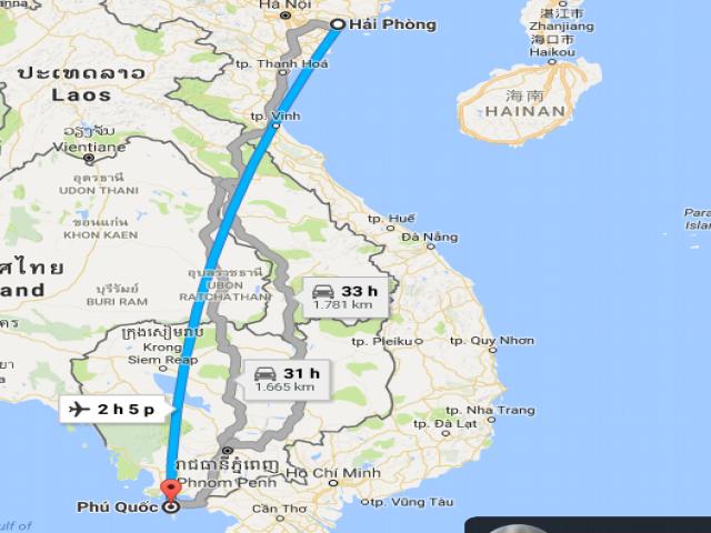 Từ thành phố Hải Phòng đi Phú Quốc bao nhiêu km?